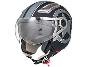 DOT Approved Motorcycle Helmet 3/4 Open Face Matte Black Star Retro Vintage EVOS Sport Street Bike Cruiser Scooter Snowmobile ATV Helmet - Medium
