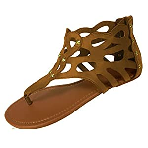 Womens Cut Out Gladiator Sandals Flat Shoes W/Spike Studs (7/8, Cognac 6337)