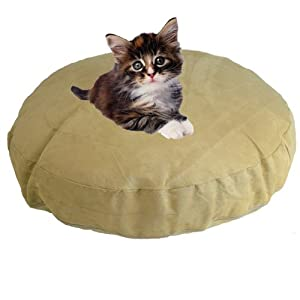Faux Suede Burgundy Bean Bag Round Cat Dog Pet Bed
