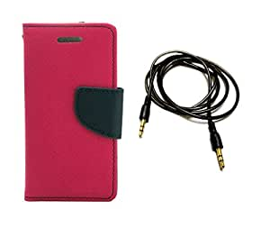 Kerbs Combo Pack fancy flip diary/case/cover for mercury for Asus Zenfone C pink and pitch dark auxiliary cable