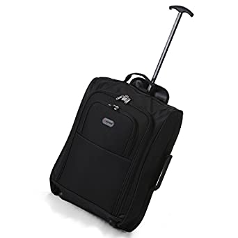 Frenzy/5Cities 55cm/50cm Lightweight Trolley Hand Luggage Bag - Approved Ryanair & Easyjet 2 Wheel Cabin Carry On Board Baggage. 42L Travel Suitcase Bag with Padlock. (50CM, Black Plain)