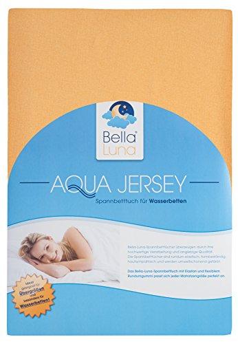 Bella-Luna-Spannbettlaken-in-Gold-Gelb-Bett-Bezug-fr-Wasserbetten-Boxspringbetten-bergren-Gre-von-180x200-bis-200x220-cm-Aquajersey-Spann-Betttuch-aus-Baumwolle-Elastan-mit-Gummizug