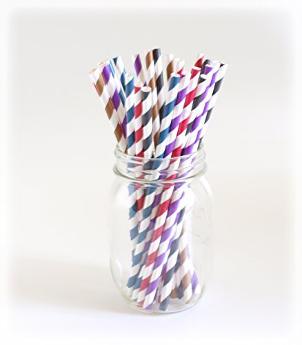 Bulk Paper Straws, Striped Drinking Straws, Stripey Straws, Disposable Straw, 25 Pack - Dark Color Striped front-720071