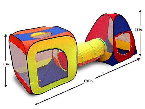 competitive price 886a3 d9aa1 Kids Play Tent with Tunnel for Indoor and Outdoor Use- Extra Large Size by  Kid Party Toys