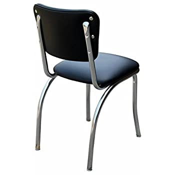 "Budget Bar Stools 4110BLK Diner Chair with 1"" Seat, Steel, 15.25"" L x 15.25"" W x 31"" H, Night Black"