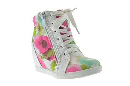 Peter 65K Little Girls Lace Up High Top Floral Wedge Sneakers Fushia