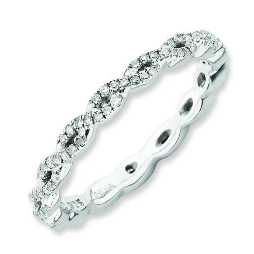 Size 5 - Diamond 2.25mm Twisted Eternity Band Sterling Silver Stackable Ring