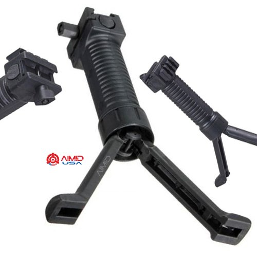 AIMID Rifle Carbine Bipod Mil Tactical RIS Handle Straight Pod Stable Bipod w Side Rail Black