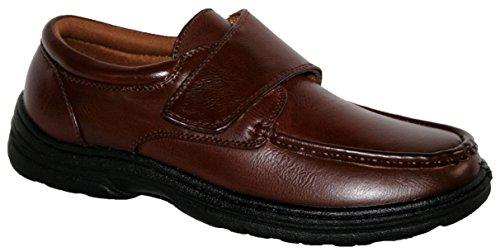 Da uomo chiusura a barra chiusura strap Wide Fit Vestito Scarpe con soletta gel pad, marrone (Brown), 44