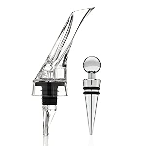 Vinomaster Red Wine Aerator Pourer and Spout Including Wine Bottle Stopper - The Best Wine Aerator, Decanter, Breather, Dispenser, Accessory and Gift Set - All in One - Lifetime Guarantee