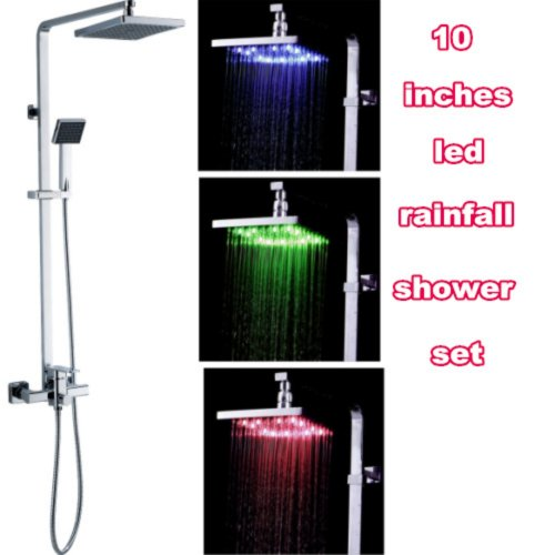 "Led Shower Set 10"" Led Shower Head Shower Led Shower Pole Designer Set"