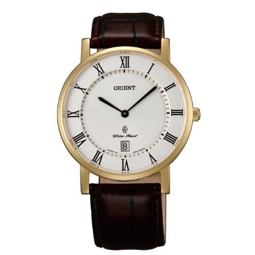 Orient FGW0100FW0 38mm Gold Plated Stainless Steel Case Brown Calfskin Anti-Reflective Sapphire Men's Watch