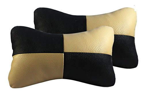 Vheelocityin 70809 Black and Beige Designer Car Seat Neck Cushion Pillow