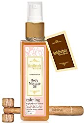 BodyHerbals Calming, Rose Geranium Cold Pressed Body Massage Oil (100 ml) Natural Wooden Massager, Beauty, Skin Care.
