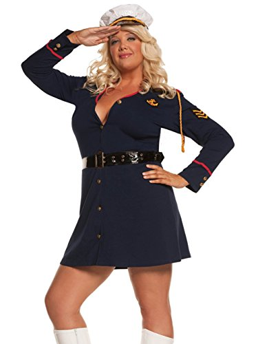 Navy Officer Women Plus Size Costume 3 Piece Set Long Sleeve Mini Dress and Hat