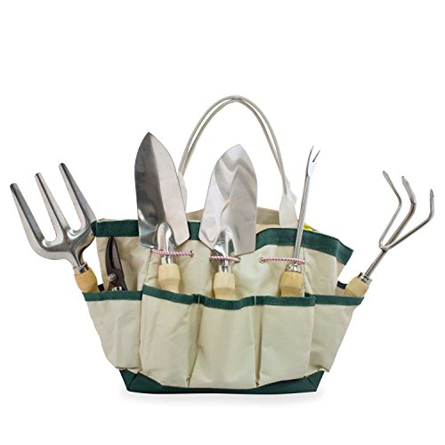 GardenHOME Garden Tool Bag, 5 Stainless Steel Tools