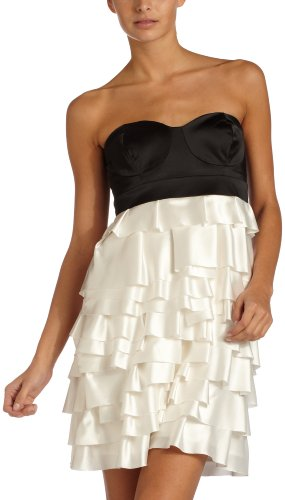XOXO  Juniors Tiered Tube Party Dress,Black/Ivory,5