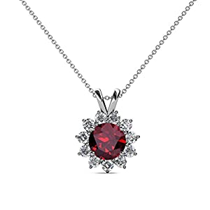 Ruby and Diamond Floral Halo Pendant 1.28 ct tw in 14K White Gold with 18 Inches 14K Gold Chain
