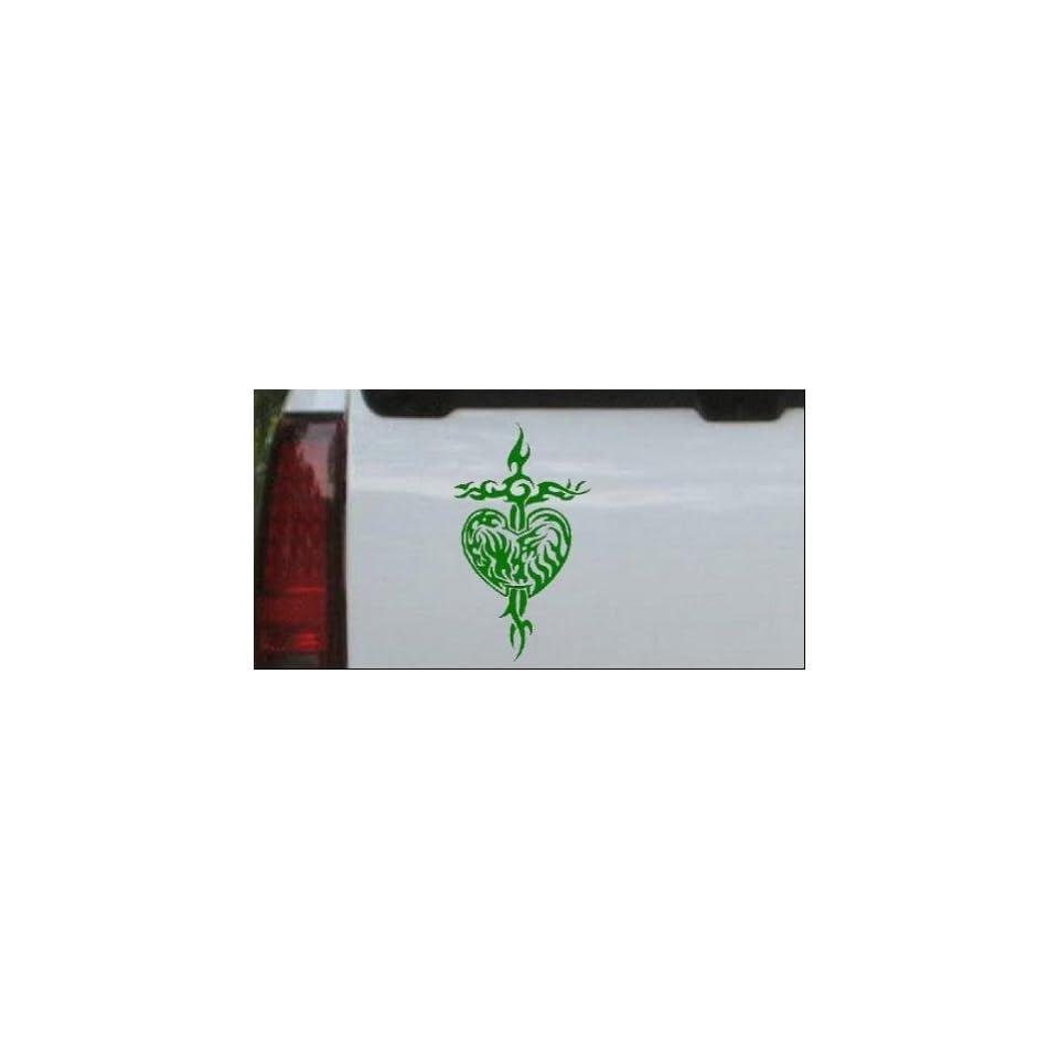 Tribal Heart and Cross Car Window Wall Laptop Decal Sticker    Dark Green 20in X 11.7in