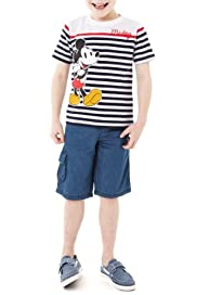 Pure Cotton Mickey Mouse T-Shirt & Shorts Outfit [T88-4206C-S]