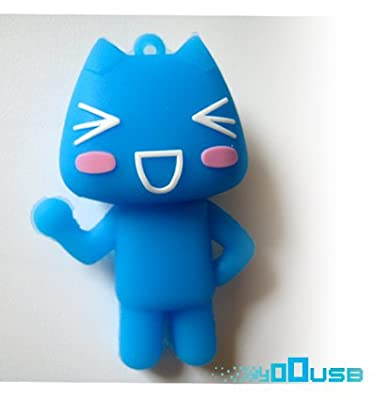 16GB Novelty Cartoon Blue Funny Cat USB Flash Key Pen Drive Memory Stick Gift UK [PC] from YooUSB