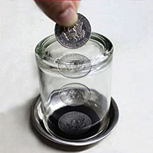 Magical Coin Penetrating Into Glass Party Magic Trick Set