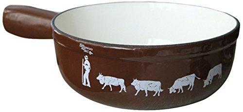 Les-Sculpteurs-du-Lac-AR003-Caquelon--Fondue-avec-Motif-Poya-Peints--la-Main-Fer-BlancChocolatEcru