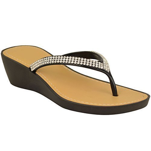 womens-ladies-wedge-jelly-sandals-low-heel-flip-flops-diamante-toe-post-size