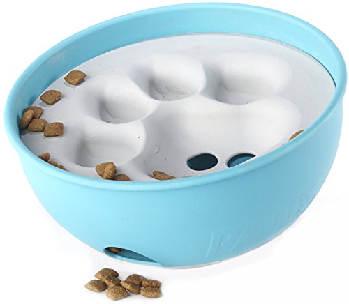 PAW5 Rock 'N Bowl Puzzle Feeder Dog Bowl - Fun Interactive Enrichment Dog Dish - Slow Feeder For Dogs - Stops Bloating - BPA and phthalate-free plastic Made in the USA (Wine Barrel Pet Food compare prices)