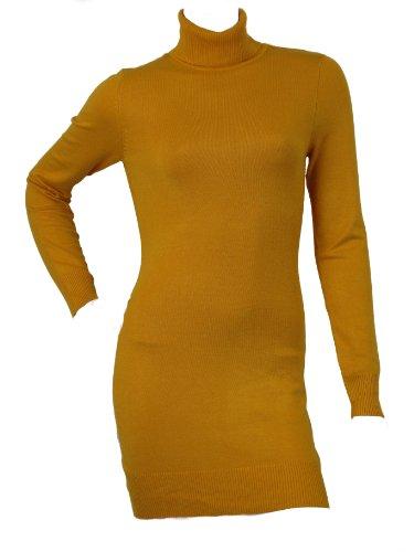Pullover da donna, collo lungo, in maglia, Maglione con collo a Polo, modello Love Lola a maglia Fine Mostarda Large