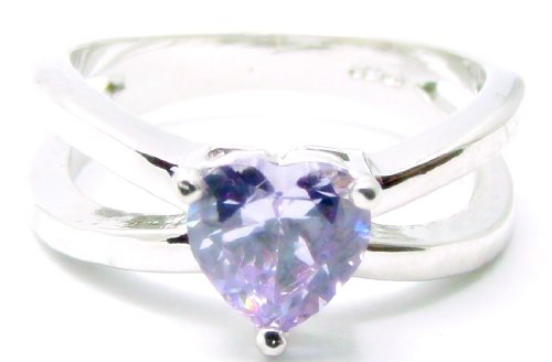Heart Shape 1 Carat Light Blue Violet Tanzanite Engagement Ring, 14k White Gold Filled Band, Size 8