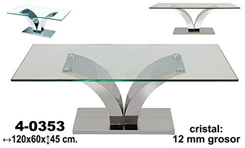 Mesa centro metal/cristal