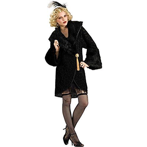 20s Black Flapper Girl Coat - Standard