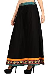 Vastraa Fusion Women Black Cotton Sharara