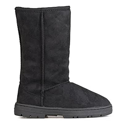 Journee Collection Boots Faux Suede Lug Sole Boot Black 6
