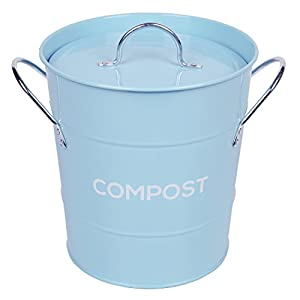 light blue metal kitchen compost caddy composting bin for food waste