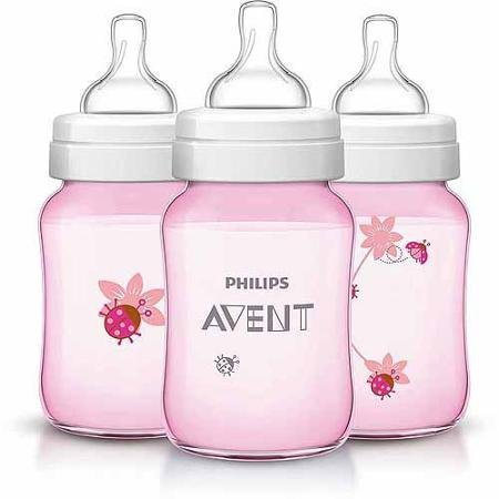 Philips AVENT Classic 9oz Bottle, Pink Ladybug, 3-Pack, BPA-Free ...