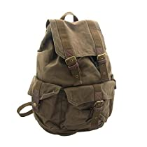 Virginland Medium Vintage Canvas Backpack with Leather Straps - Army Green