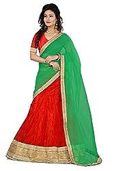 Pushty Fashion Green and Orange Net Lehnga