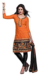 Fabvila Orange Chanderi A-line Unstitched Dress Material