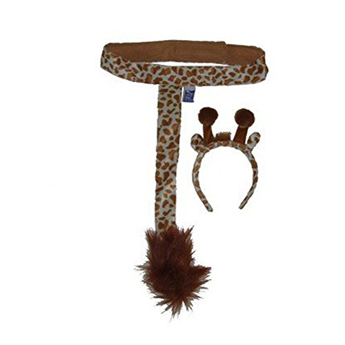 Kids Giraffe Plush Headband Ears Tail Safari Dressup Costume Set