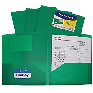 C-Line Two-Pocket Heavyweight Poly Portfolio, For Letter Size Papers, Includes Business Card Slot, 1 Case of 25 Portfolios, Green (33953)