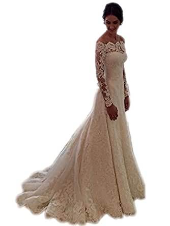 Bridess women39s elegant lace wedding dresses off the for Amazon cheap wedding dresses