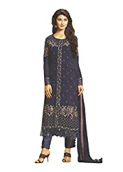 Namrah Collection Womens Georgette Resham Salwar Suit Dress Material (1020_Dark Blue)