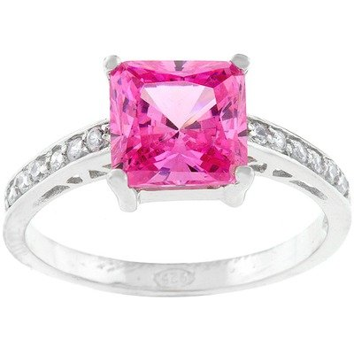 Cubic Zirconia Engagement Ring Size: 9, Color: Sterling Silver Pink Princess-Cut