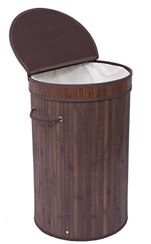 BirdRock Home Round Laundry Hamper with Lid and Cloth Liner | Bamboo | Espresso | Easily Transport Laundry Basket | Collapsible Hamper | String Handles (Laundry Hamper Portable compare prices)