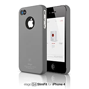 elago S4 Slim Fit Case for iPhone 4 (Soft Feeling) - SF Gray + Logo Protection Film included