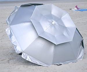 6 ft Solar Guard Dual Canopy Beach Umbrella - UPF 150+ Wind / Water Resist