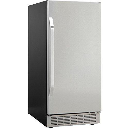 Danby DIM3225BLSST Built-In Under Counter Ice Maker with Door, Black/Stainless Steel