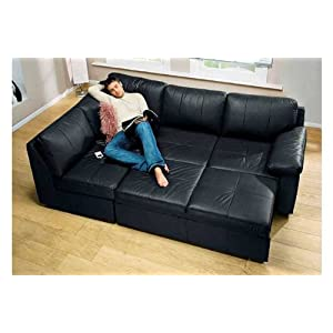Alonza corner suite sofa bed black leather sofa lh for Sofa bed amazon